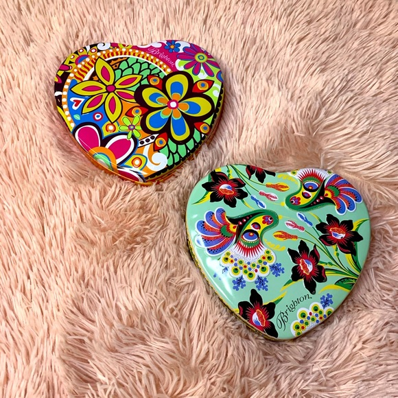 Collectible BRIGHTON Heart Shaped Jewelry Tin Box